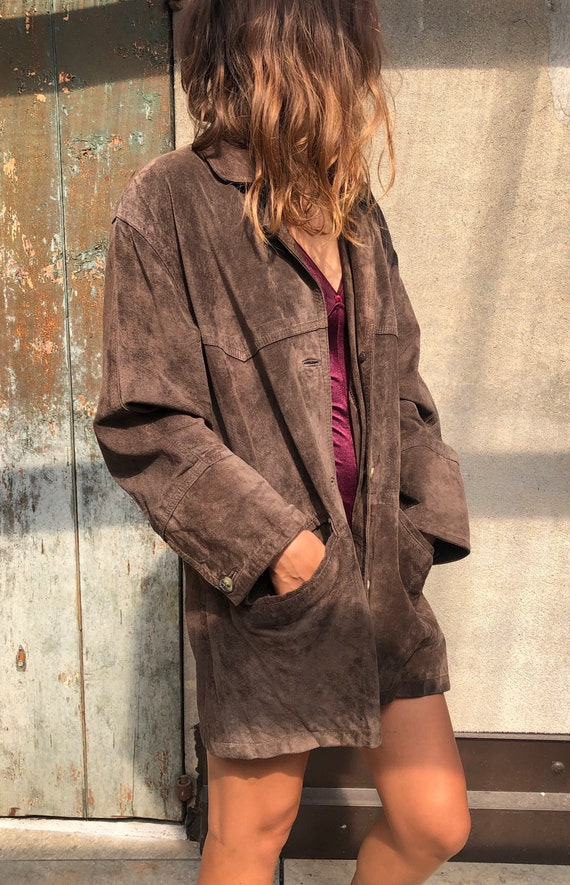 Vintage 80s style suede leather jacket