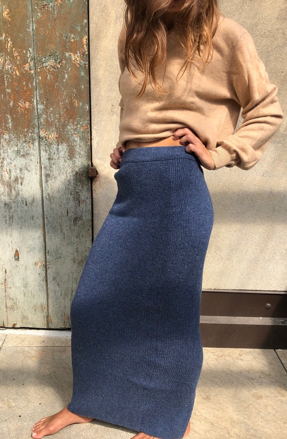 Vintage split hem knit wool pencil long skirt