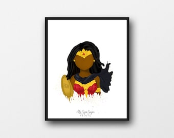 Wonder Girl Art Printable, Printable Art for Kids, Afro Art , Superhero Print, African American Illustration, Girls Room, Nursery Wall Art