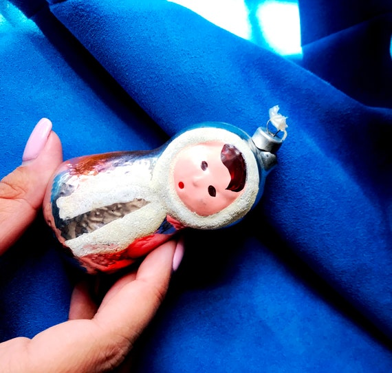 soviet vintage glass toy in good vintage condition!! cristmas ornament girl