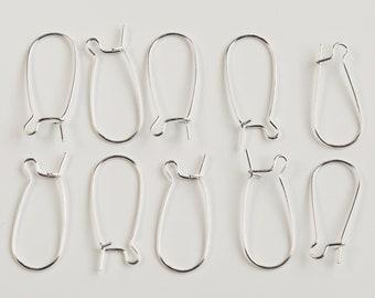 Pack of 10 Silver Plated Kidney Ear Wire Hooks / Earring Findings / 25mm