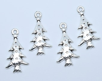 Christmas Tree Charms / Tibetan Style Alloy Pendant / Pack of 4 / Cadmium Free, Lead Free / Silver colour