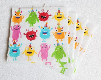 Monsters - Set of 4 napkins - 3ply - Children's Party