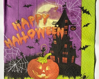Happy Halloween Paper Napkins - Set of 4 napkins - 3ply - Party Tableware