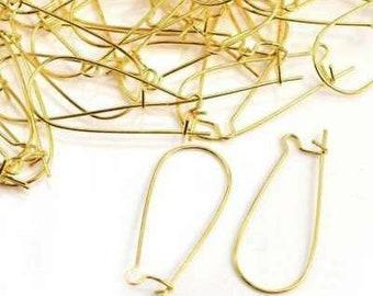 Pack of 10 Gold Plated Kidney Ear Wire Hooks / Earring Findings / 35mm