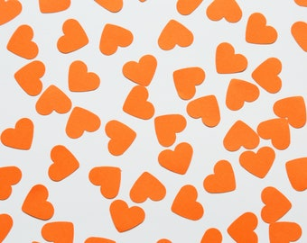 Orange hand punched card in the shape of a heart / Confetti / Table Decoration / Scatter / DIY Crafts / Party Supplies / Scrapbooking