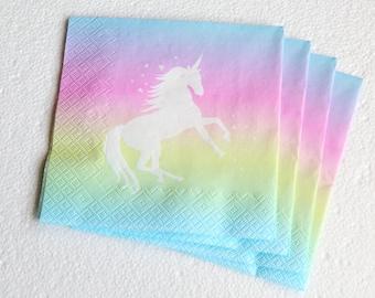 Unicorns & Rainbow - Set of 4 napkins - 3ply - Children's Party