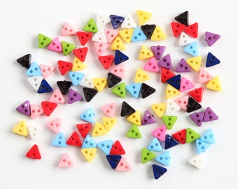 50 Multi Coloured Triangle Resin Buttons / Size 6mm / 2 holes / Sewing / Clothing / Crafts