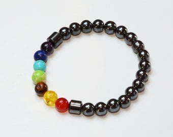 Hematite Chakra Bracelet / Healing / Energy / Elasticated / Rainbow / Colourful / Gemstones