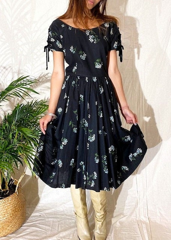 VINTAGE 40's Floral Cotton Dress