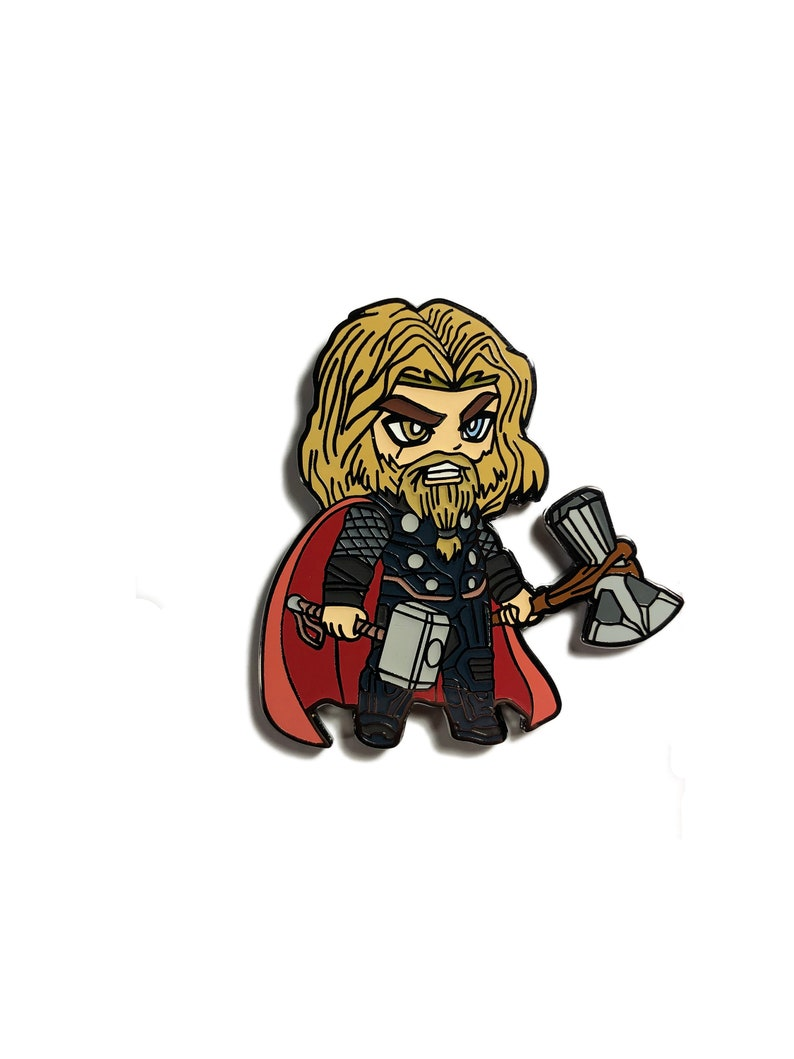 Thor God Of Thunder Hard Enamel Pin Avengers Endgame Marvel Love and Thunder Kawaii Chibi Black Nickel Metal Finish