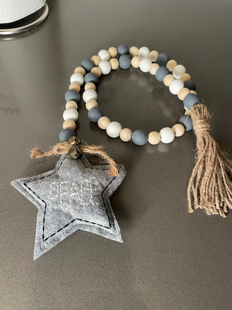 Farmhouse beads with soft star \u201cpeace\u201d