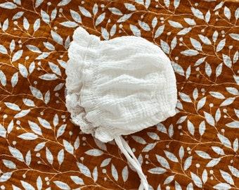 Ruffle Brimmed Floral White  Cotton Baby Bonnet