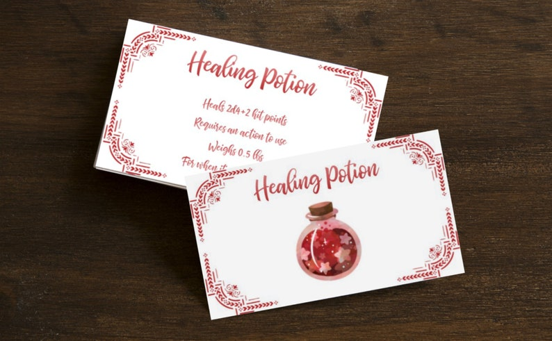 Healing potion card printables for Dungeons and Dragons 5e - standard  greater superior