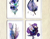 Sentiment Pack 1,  (4 greetings cards), Birthday greetings card, Thank you card, cards for flower lovers, congratulations card