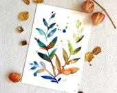 ORIGINAL Watercolour, Autumn Leaves II, A4