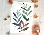 ORIGINAL Watercolour, Autumn Leaves, A4