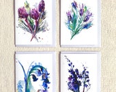 Floral Pack 2 (4 blank greetings cards), flower cards, gift for gardeners, floral cards, bluebell art, lavender art, birthday card, protea