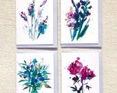 Floral Pack 1 (4 blank greetings cards), Birthday greetings card, Thank you card, cards for flower lovers, congratulations card