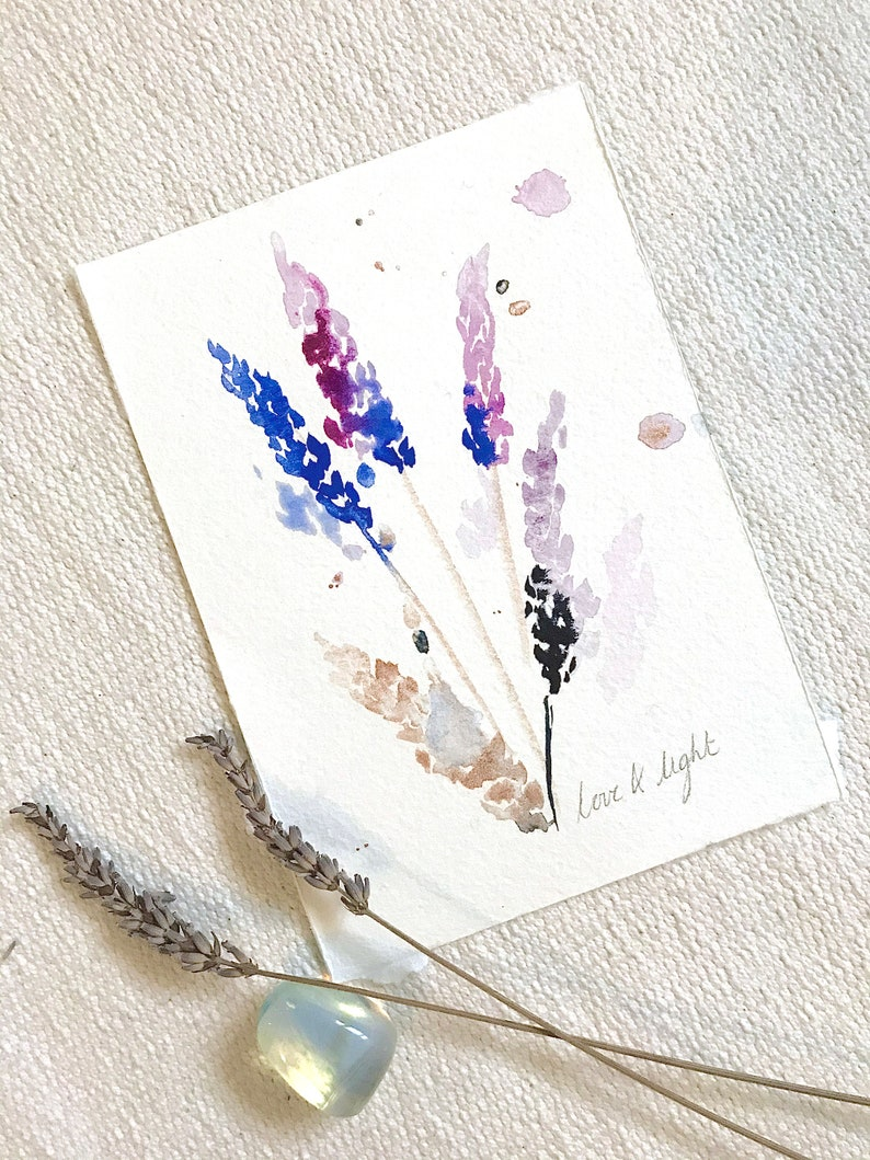 ORIGINAL Watercolour Lavender Love & Light Intention painting image 0