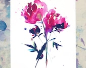 A4 Print, Peony print, Gift for flower lover, gift for gardeners, peony flower gift, flower art gift, flower room decor