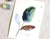 ORIGINAL Watercolour, Leaf Love & Light Intention painting
