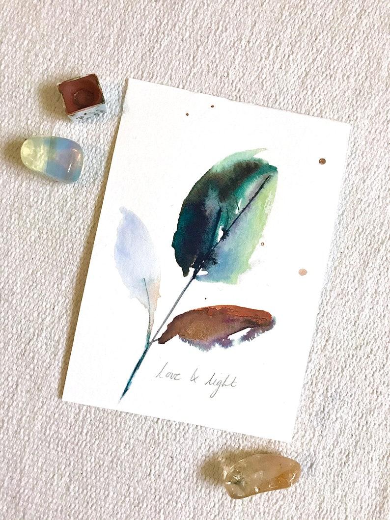 ORIGINAL Watercolour Leaf Love & Light Intention painting image 0