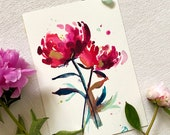 ORIGINAL Watercolour, Peony Painting, A4, gift for birthday