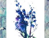 A4 Print, Delphinium print, Gift for flower lover, gift for gardeners, delphinium flower gift, flower art gift, flower room decor