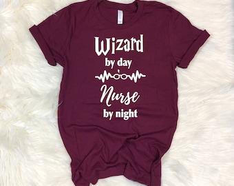 a03911f9691 Wizard by Day Nurse by Night Shirt, Nurse Shirts, Gift Nurse, Student Nurse,  Nurse Life, Nurse Tee, Womens RN Nursing Shirt, Potter Inspired