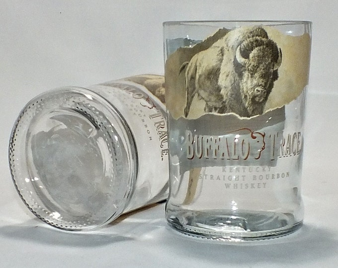 Buffalo Trace Whiskey Bourbon Rocks Glass (1) - Made from Bottle - Whisky bottom glass