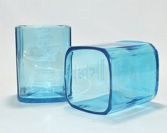 Bombay Sapphire London Gin Liquor Bottle Cut Glass - Rocks Glasses - Drinking Glasses - Upcycled Glasses 1 liter bottle
