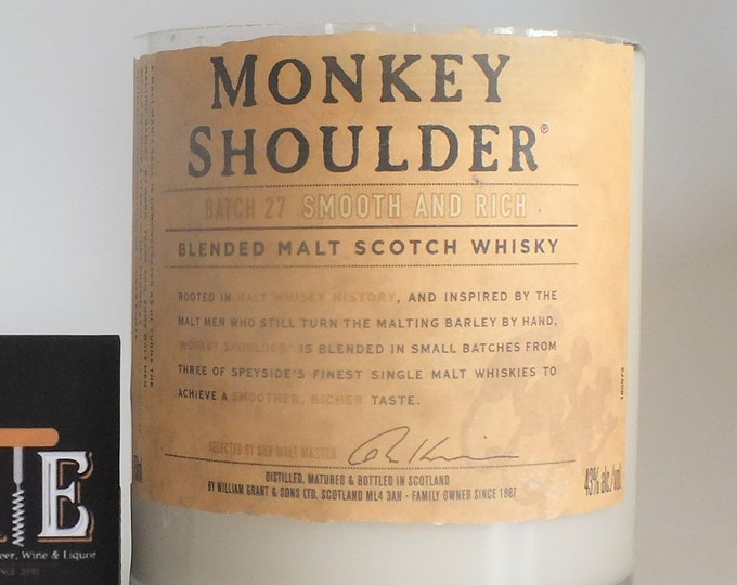 Monkey Shoulder Blended Malt Scotch Whisky Empty Cut Liquor Bottle Candle -Scented Soy Wax -  Whiskey Gift - Man Cave FREE SHIPPING!