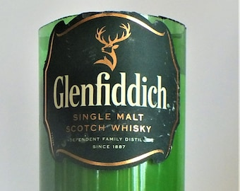 Glenfiddich Bottle Candle - Single Malt Scotch Whisky - Scented Soy Wax - Empty Cut Liquor Bottle - Gift - Man Cave FREE SHIPPING!