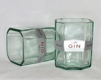 New Amsterdam London Gin Liquor Bottle Cut Glass - Rocks Glasses - Drinking Glasses - Upcycled Glasses 1 liter bottle