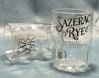 Sazerac Straight Rye Whiskey Rocks Glass (1) - Made from 750ml Bottle - Whisky bottom glass