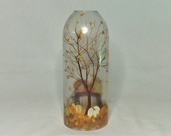 Fall Bottle Lamp Shade - Bar Light - Glass Bottle - Decorative - Free Shipping - Seasonal