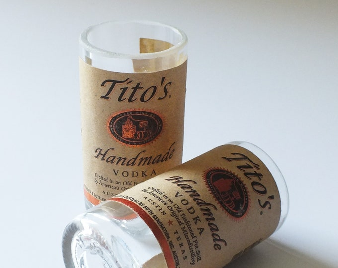 Tito's Handmade Vodka Mini Bottle Shot Glass - 50ml bottles - Titos - Fathers Mothers gift - Best USA Vodka