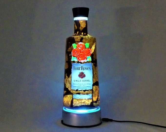 Four Roses Bottle Lamp - 16 Color Changing Light RGB LED Remote Controlled - Bar Light - Glass Bottle - Free Shipping