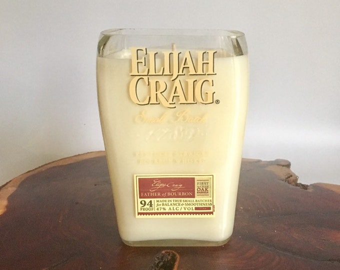 Elijah Craig Bottle Candle - Small Batch Kentucky Bourbon Whiskey - Scented Soy Wax - Empty Cut Liquor - Whisky FREE SHIPPING!