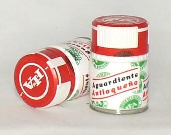 Aguardiente Shot Glasses - Cut from the top of the bottle- Upcycled Glasses -  Antioqueno - shot