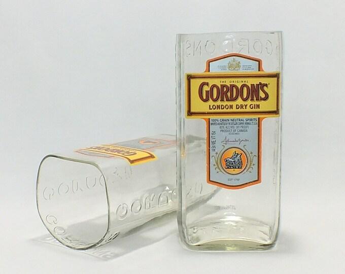 Gordon's Gin Rocks Glass (1) - London Dry Gin - Empty Liquor Bottle - Upcycled Bottle - Whisky bottom glass