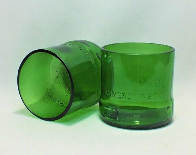 Jameson Irish Whisky Liquor Bottle Cut Glass - Rocks Glasses - Drinking Glasses - Upcycled Glasses 1 liter bottle
