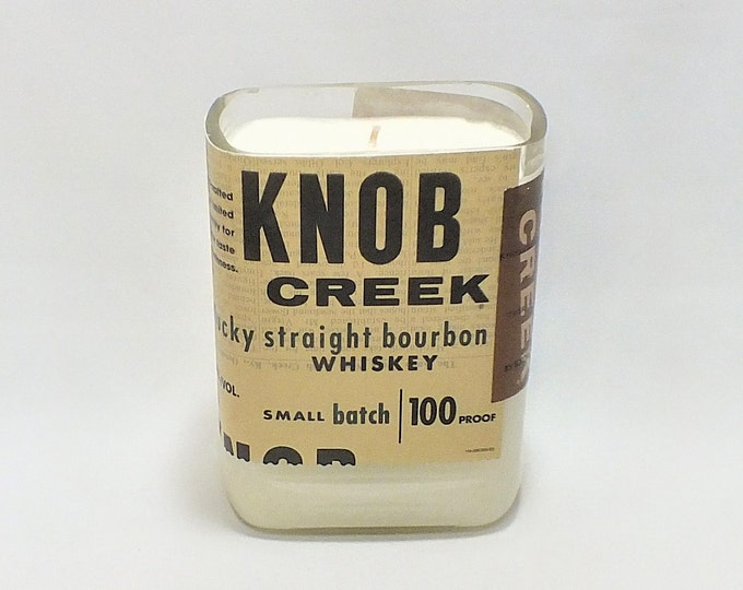 Knob Creek Bottle Candle - Kentucky Straight Bourbon Whiskey - Scented Soy Wax - Empty Cut Liquor - Whiskey Gift - Cave FREE SHIPPING!