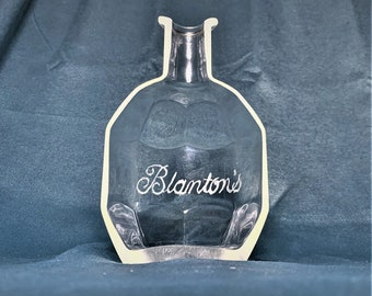 Cigar Ashtray - Nuts Bowl - Jewelry box - From Empty Blanton's Bourbon Whiskey Liquor Bottle - etched Blantons logo on bottle