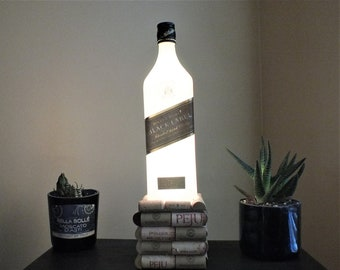 Johnnie Walker Black Label Scotch Whisky empty Liquor bottle lamp 16 Color Changing light RGB LED Remote Controlled -Glass Bottle - Whiskey