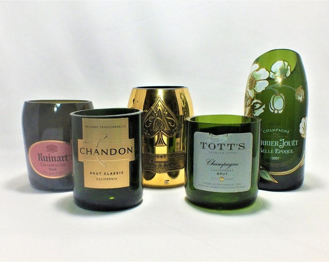 Champagne Bottle Candle - Empty Cut Liquor Bottle - Scented Soy Wax -  Gift - Rarest Champagne FREE SHIPPING!