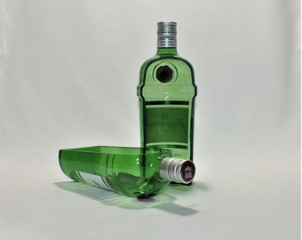 Tanqueray London Gin Liquor Bottle cut lengthwise / crafts / Planter / Indoor Plants / Succulent Glass Terrarium
