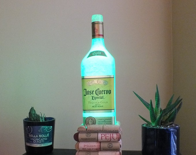 Jose Cuervo Tequila Liquor bottle lamp 16 Color Changing light RGB LED Remote Controlled - Man Cave Bar Light - Glass Bottle - Mexico