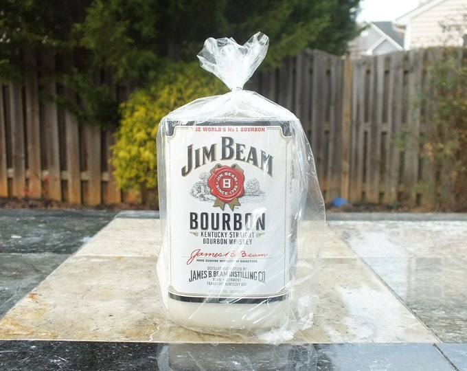 Jim Beam Bottle Candle - Kentucky Straight Bourbon Whiskey - Scented Soy Wax - Empty Cut Liquor Bottle -  Whiskey Gift FREE SHIPPING!